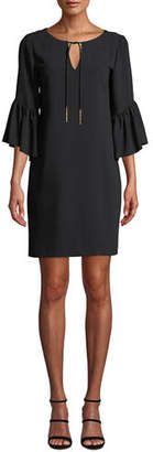 Trina Turk Carmel Scoop-Neck Keyhole-Front Bell-Sleeve Baroque Crepe Dress