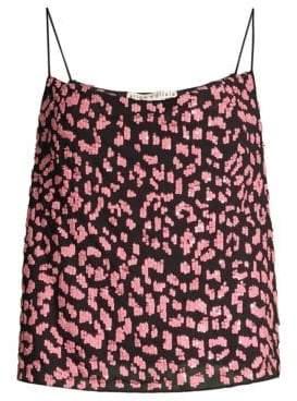 Alice + Olivia Harmon Leopard Sequin Embellished Slip