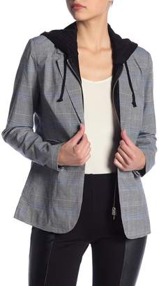 Romeo & Juliet Couture Plaid Detachable Hooded Blazer