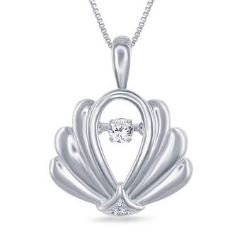 ENCHANTED FINE JEWELRY BY DISNEY Enchanted by Disney Diamond Accent Sterling Silver Ariel Shell Pendant Necklace