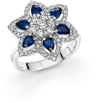 Bloomingdale's Sapphire and Diamond Flower Ring in 14K White Gold - 100% Exclusive