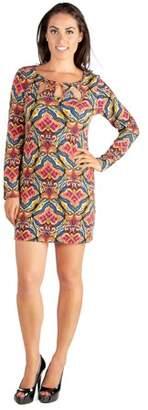24seven Comfort Apparel Multicolor Print Three Keyhole Neckline Long Sleeve Mini Dress