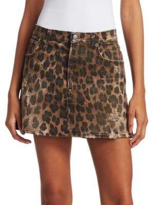 R 13 Leopard-Print Mini Skirt