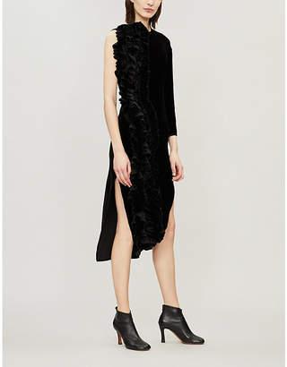 Awake Asymmetric frill-trimmed velvet dress