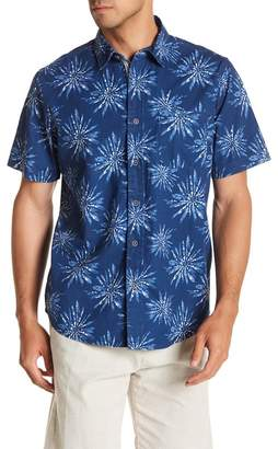 Natural Blue Short Sleeve Printed Modern Fit Shirt