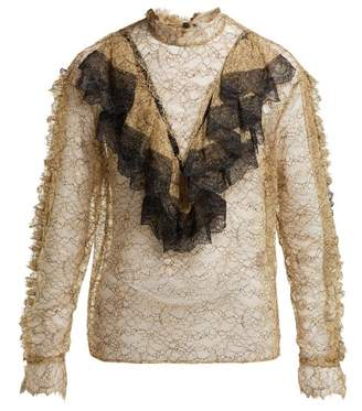 Preen by Thornton Bregazzi Kristina Floral Lace Ruffled Blouse - Womens - Beige Multi