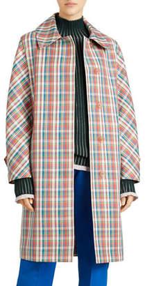 Burberry Quendon Check Button-Front Coat