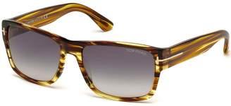 Tom Ford Men's Mason TF445 01N Black Green Rectangular Sunglasses 58mm