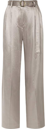 Sies Marjan Blanche Belted Metallic Cotton-blend Satin Wide-leg Pants - Platinum