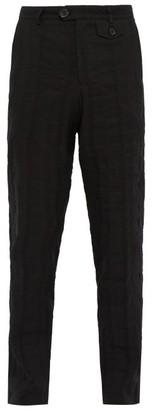 Oliver Spencer Fishtail Linen Blend Seersucker Trousers - Mens - Black
