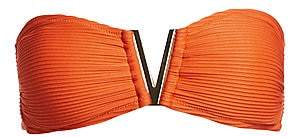 Heidi Klein Women's Ribbed V-Bar Bandeau Bikini Top