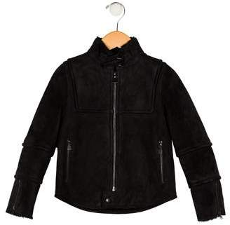 Christian Dior Boys' Leather Shearling-Trimmed Jacket