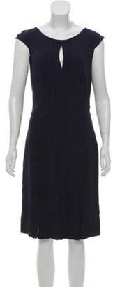 Blumarine Silk Midi Dress Navy Silk Midi Dress