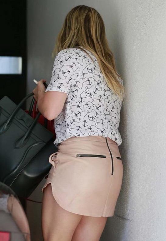 Mason by Michelle Mason Leather Mini Skirt in Blush