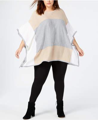Calvin Klein Plus Size Colorblocked Poncho