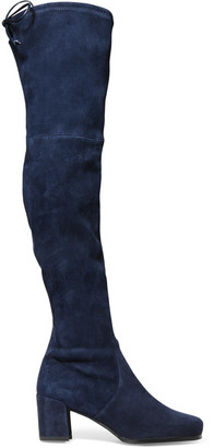 Stuart Weitzman - Hinterland Stretch-suede Over-the-knee Boots - Navy $800 thestylecure.com