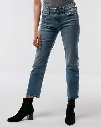 Express Mid Rise Straight Raw Cut Hem Stretch Jeans