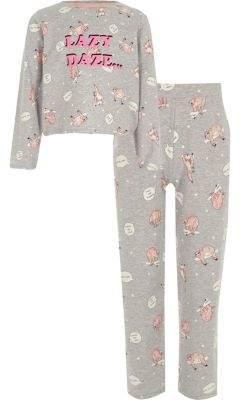 River Island Girls grey 'lazy' sloth print pajama set