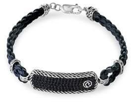 Effy Gento 925 Sterling Silver, Black Sapphire & Leather Bracelet