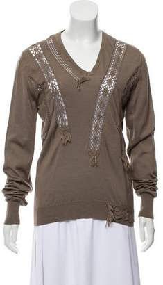 Burberry Crochet-Accented V-Neck Sweater