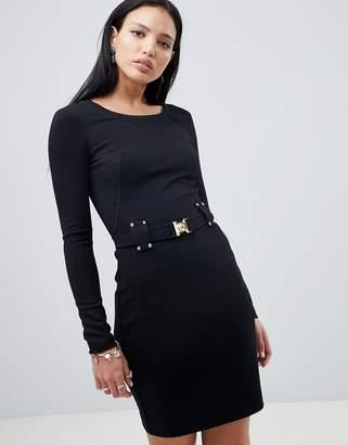 Versace dress with buckle waist detail