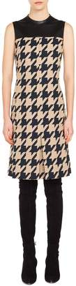 Akris Punto Leather Trim Houndstooth Jacquard Dress