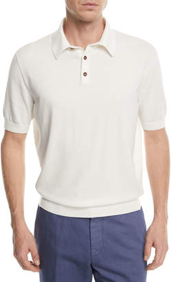 Ermenegildo Zegna Banded-Hem Cotton Polo Shirt