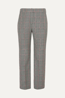 Alexander McQueen Cropped Prince Of Wales Wool-blend Straight-leg Pants