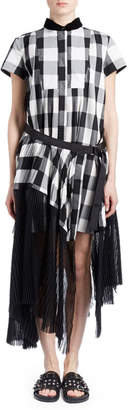 Sacai Short-Sleeve Button-Down Belted Plaid Midi Dress w/ Pleated Combo