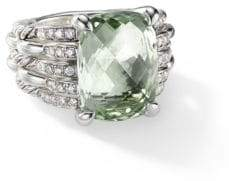 David Yurman Tides Prasiolite& Pave Diamond Sterling Silver Ring