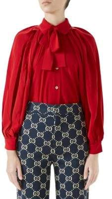 Gucci Long-Sleeve Bow Detail Silk Shirt