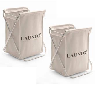 Seville Classics Aluminum X Frame Folding Laundry Hamper with Removable Canvas Bin, Set of 2