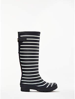 Joules Stripe Waterproof Rubber Wellington Boots, Blue