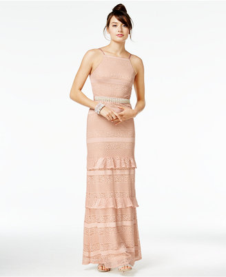 Speechless Juniors' Ruffled Crochet-Lace Gown, A Macy's Exclusive Style $119 thestylecure.com