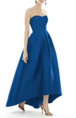 Women's Alfred Sung Strapless High/low Sateen Twill Gown $218 thestylecure.com