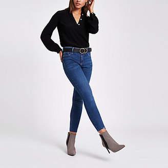 River Island Womens Black button long sleeve split back blouse