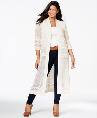 Belldini Plus Size Pointelle-Stitch Duster Cardigan $72 thestylecure.com