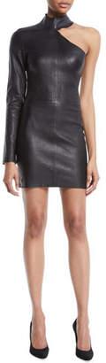 RtA Lulu One-Sleeve Fitted Lambskin Leather Mini Dress