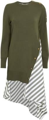 Monse Olive Striped Poplin Contrast Knit Dress