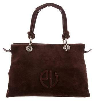 Ungaro Leather-Trimmed Suede Bag