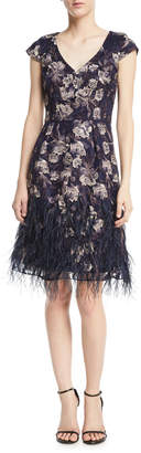 David Meister Floral V-Neck Cocktail Dress w/ Feather Skirt