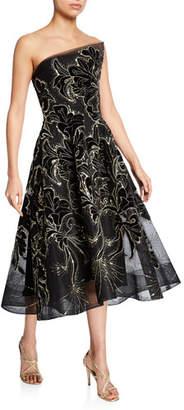 Monique Lhuillier Strapless Floral Velvet Embroidered Tea-Length Dress