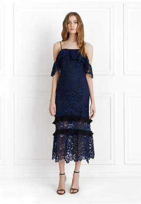 Rachel Zoe Poppy Off-The-Shoulder Garden Floral Lace Midi Dress