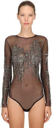 Amen Embellished Mesh & Crystal Bodysuit