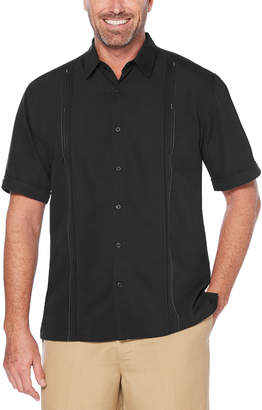 Cubavera Short Sleeve Embroidered Double Tuck Shirt