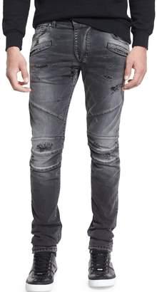 Pierre Balmain Distressed Slim-Fit Biker Jeans