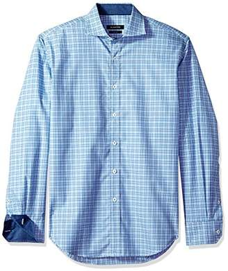 Bugatchi Men's Tailored Fit Tattersal Plaid Long Sleeve Button Down Woven