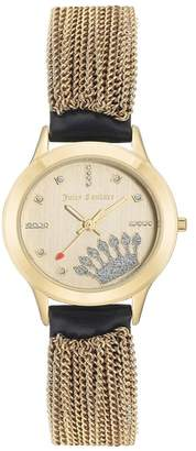 Juicy Couture Women's Black Leather Strap Watch With Gold-Tone Tassels, 32mm