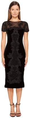 Marchesa Crew Neck Cocktail in Stretch Velvet Women's Dress