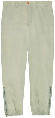 Gucci Cotton pant with lyre embroidery